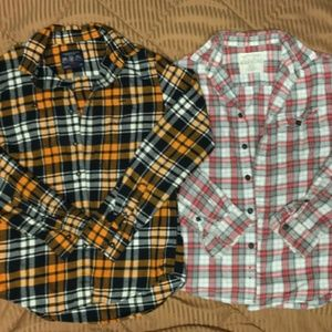 2pc lot mens thermal flannel long sleeve shirts